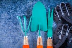 Metal i guanti di giardinaggio della sicurezza del mestolo di sarchiatura della cazzuola del rastrello Immagine Stock Libera da Diritti