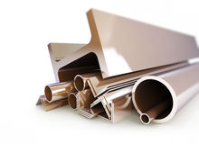 Metal i tubi, gli angoli, i canali, quadrati Immagine Stock Libera da Diritti
