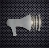 Metal icon megaphone Stock Photo