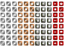 Metal Icons. Various icons with metal texture Stock Photography