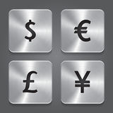 Metal icons design - Dollar, Yen, Euro, Pound. Royalty Free Stock Photos