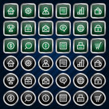 Metal icons set business finance Stock Images