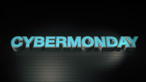 Metal il mondey cyber del testo 3D con la riflessione ed accenda Fotografie Stock