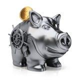 Metal il porcellino salvadanaio con la moneta sicura di oro e della serratura Fotografia Stock Libera da Diritti