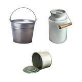 Metal il secchio, Tin Can Ribbed Tincan aperto, inscatolato Immagine Stock