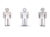 Metal il simbolo dell'uomo 3d con tre angoli di vista differenti isolati su bianco Royalty Illustrazione gratis