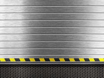Metal Industrial Background With Hazard Stripes Royalty Free Stock Image
