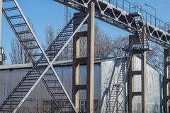 Metal bridge frameworks structures. Railway cran. royalty free stock photos