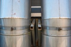 Metal industrial rusty airway pipes is close. Up stock photo