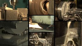 Metal industry. Multiscreen. Lathe machining metal peeling