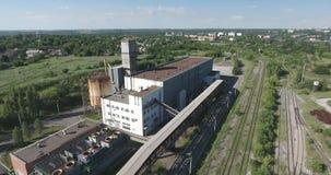 Metal industry plant aerial shot stock video