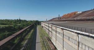 Metal industry plant aerial shot stock footage