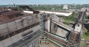 Metal industry plant aerial shot stock video footage