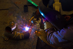 Metal Industry. Welder digested in the work place,photography Royalty Free Stock Image