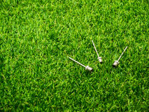 Metal inflation needle on the grass Royalty Free Stock Image