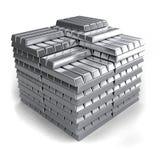 Metal ingots. Steel, silver or iron ingots piled up Royalty Free Stock Photography