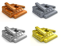 Metal ingots Stock Photo