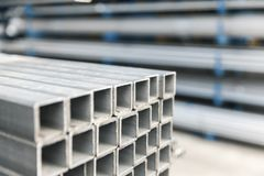 Metal inox pipe on stack. Close up Stock Images