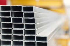 Metal inox pipe on stack. Close up Stock Image