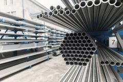 Metal inox pipe on stack. Close up Royalty Free Stock Photo