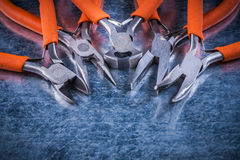 Metal insulated electric pliers nippers close up view electricit Royalty Free Stock Photo