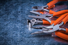 Metal insulated electric pliers nippers horizontal view electric concept Stock Photos