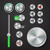 Metal interface buttons collection Stock Photos
