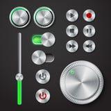 Metal interface buttons collection Stock Photos