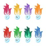 Metal ions flame test colors. Educational chemistry for kids. Cartoon vector illustration in flat style Royalty Free Stock Image
