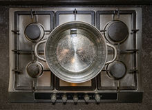 Metal iron aluminum pan on traditional stove cooker boiling water Royalty Free Stock Image