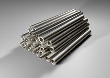 Metal iron rods. Stacked resting on a white floor Royalty Free Stock Photo