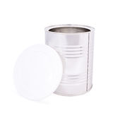 Metal jar with opened cap. Over white background Royalty Free Stock Photos