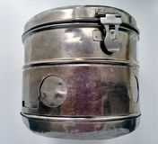 Metal jar for storage of medicines Stock Images