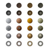 Metal jeans buttons and rivets. Stock Photo