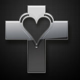 Metal Jesus Cross heart shape Royalty Free Stock Photography
