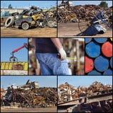 Metal junkyard collage Stock Photos