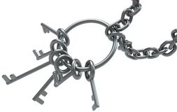 Key Ring Chained. Metal key ring chained, 3d illustration, horizontal, over white, isolated Royalty Free Stock Photos