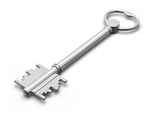 Metal key on white Stock Photos