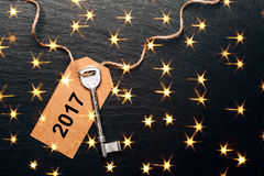 Metal key with 2017 year tag Stock Photos