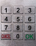 Metal keypad. Metal number keypad like on ATM or other outdoor machine royalty free stock photography
