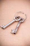 Metal keys. On golden textile background Stock Photography