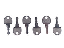 Metal keys on white background Stock Photos