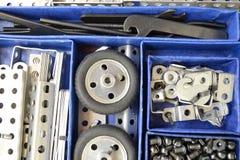 Metal kit. Old metal toy kit in the box Royalty Free Stock Image