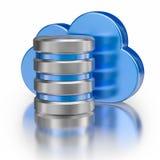 Metal l'icône de base de données d'icône et le nuage brillant bleu Photographie stock libre de droits