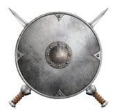 Metal l'illustration croisée de bouclier de gladiateur et deux d'épées 3d d'isolement Photographie stock