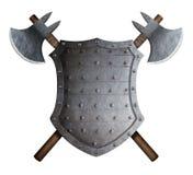 Metal l'illustration croisée pointue de bouclier et deux de haches 3d de bataille Photo libre de droits