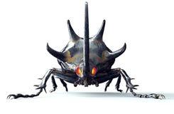 Metal l'insecte de robot sur le blanc avec le chemin de coupure Photo stock