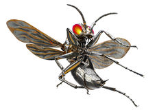 Metal l'insetto del robot isolato su bianco con il percorso di ritaglio, il illu 3D Fotografie Stock Libere da Diritti