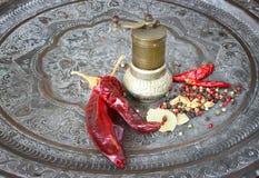 Metal la amoladora de la especia con pimientas y la hoja de laurel candentes Fotografía de archivo libre de regalías