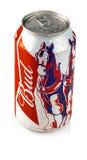 Metal la bottiglia della birra di Budweiser su un fondo bianco Fotografie Stock Libere da Diritti